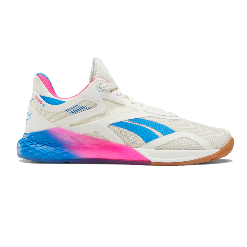 Women's Reebok Nano X, women, reebok, crossfit, nano, x, gym, workout, training, shoe, new, color, chalk, white, blue, pink,