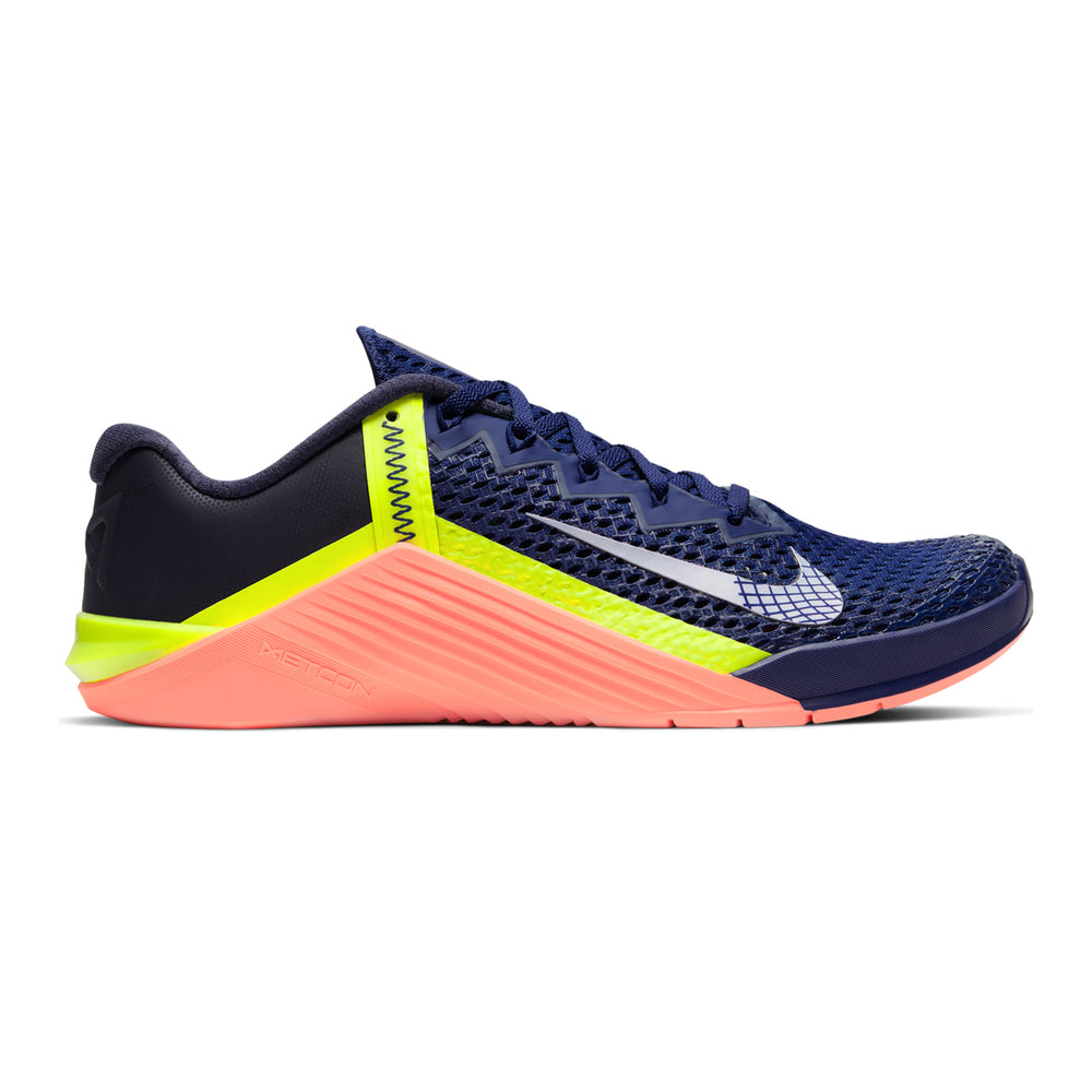 Men's Nike Metcon 6 , men, nike, metcon, 6, crossfit, gym, workout, training, shoe, color, style, royal blue, bright mango, volt, yellow, platinum