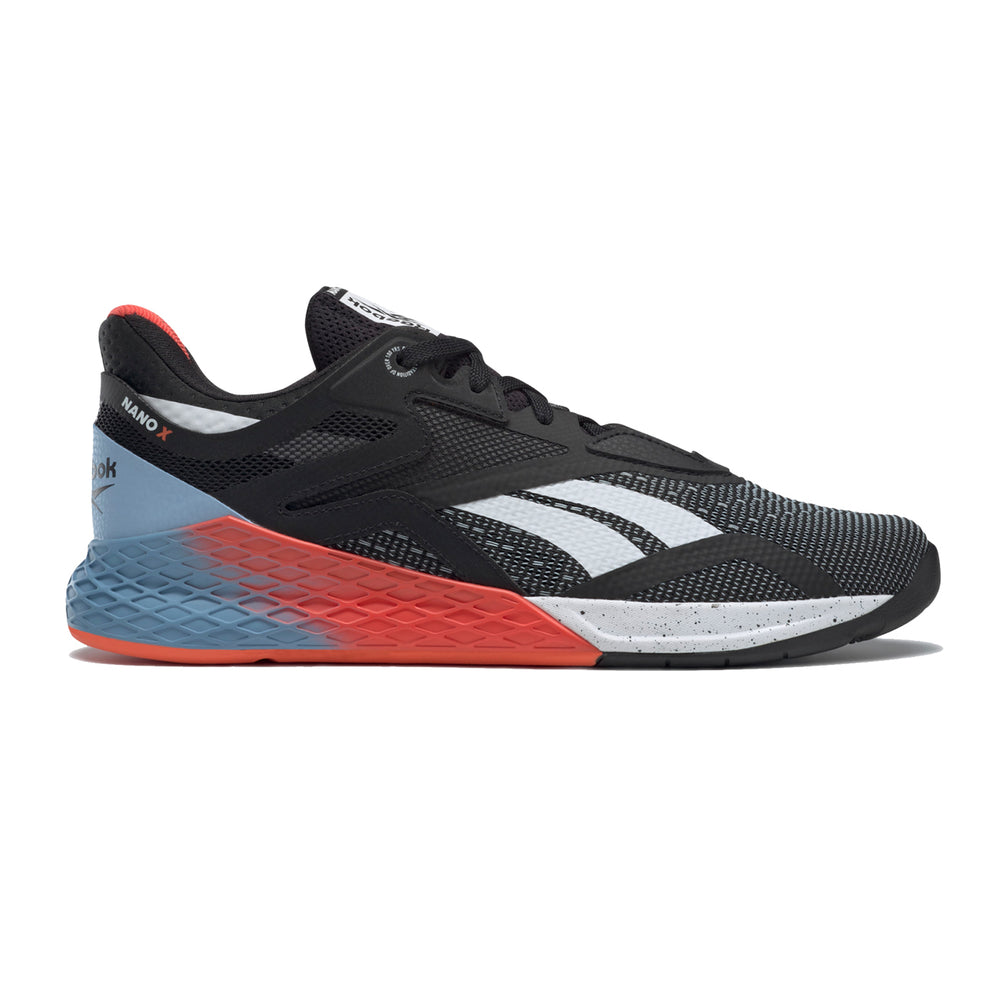 Men's Reebok Nano X, men, reebok, crossfit, nano, x, gym, workout, training, shoe, new, black, white. blue, orange, color, red