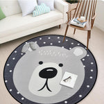 White Grey Cartoon Animals Round Rug For Living Room