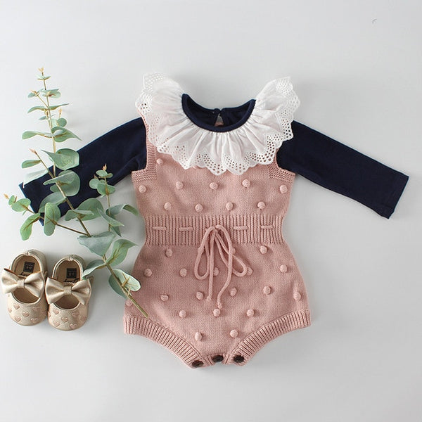 Autumn Knit Baby Rompers Girl