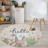 Rabbit Printed Round Carpet For Living Room