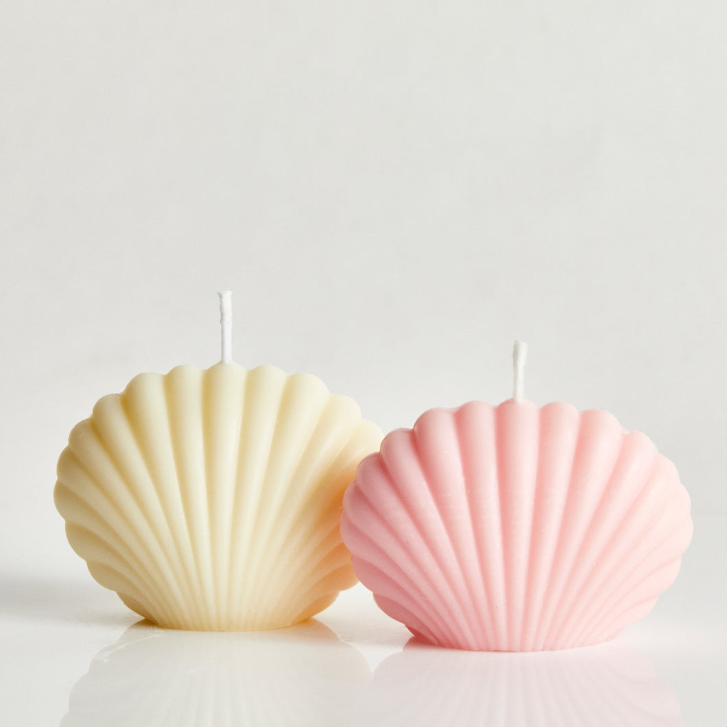 Bombshell Set Of Two Pink & White Scented Shell Candle