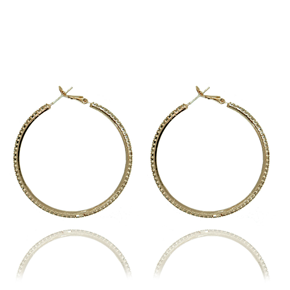 Cindy Crystal Gold Hoops