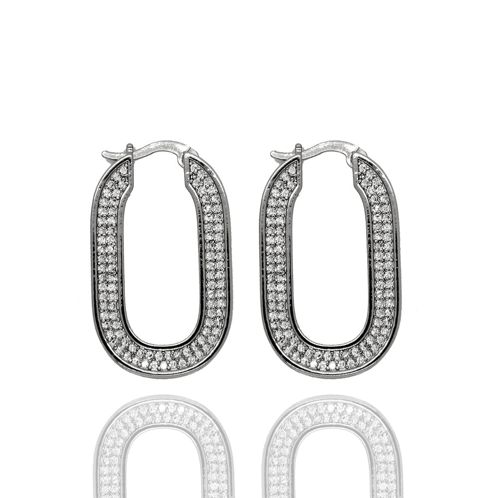 Rodeo Crystal Silver Hoops