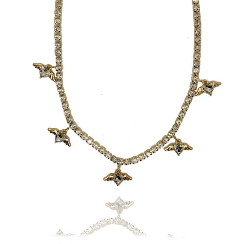 Angel Gold Crystal Tennis Choker