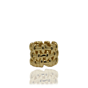 Lost Cross Knit Gold Ring