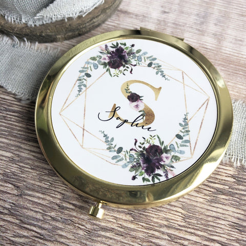 Personalised Initial and Name Burgundy Floral Round Rose Gold Compact Mirror