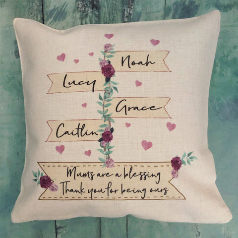 Personalised Are a Blessing Signpost Design Home Quote Linen Style Cushion