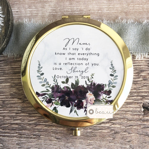Personalised Mother of Bride Groom As I say 'I do' from Bride Groom Quote Burgundy Floral Rose Gold Compact Mirror