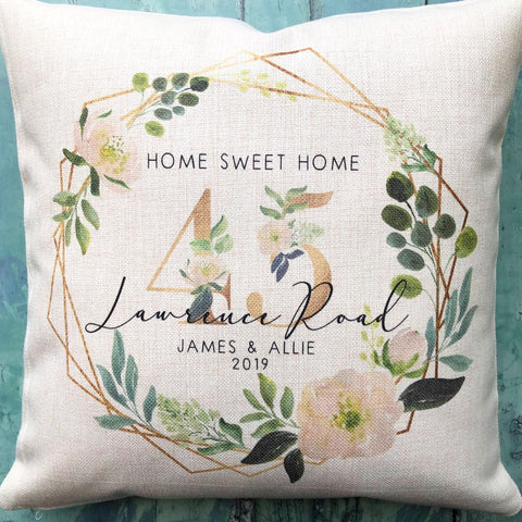 Personalised New Home House Warming Address Floral Geometric Linen Style Cushion