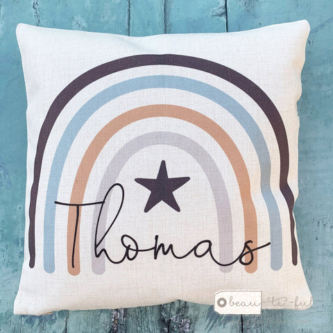 Personalised Name ... Blues Rainbow Design Cushion