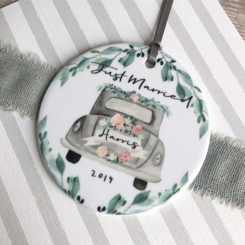 Personalised Just Married Wedding Car Ceramic Round Decoration Ornament Keepsake