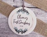 Personalised Baby's First Christmas Botanical Round Ceramic Tree Hanger Decoration Ornament