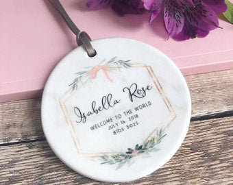 Personalised Welcome to the World Baby Girl Marble Style Quote Botanical Ceramic Round Decoration Ornament Keepsake