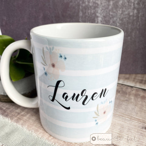 Personalised Name Friendship... Blue Stripe Floral Quote Mug