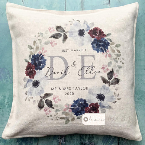 Personalised Mr Mrs Just Married Wedding .. Floral Greenery Wreath Cushion