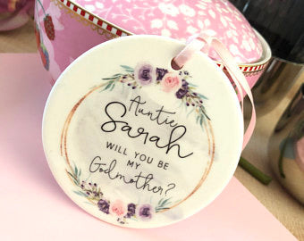 Personalised Will you be my Godmother Decoration Pretty Floral...Round Ceramic Ornament ...
