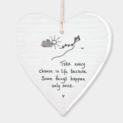 East of India Take every chance in life because some things only happen once. Ceramic heart.