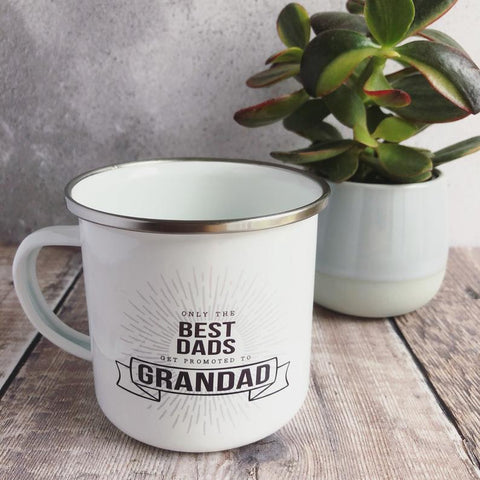 Only the Best Dads get promoted to .... Enamel mug Father's Day
