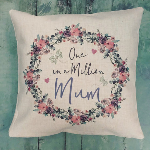 Personalised One in a Million Floral Butterfly Design Home Quote Linen Style Cushion
