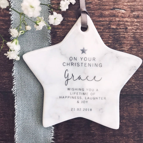 Personalised Christening Marble Style Ceramic Star Keepsake