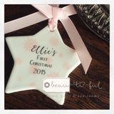 Personalised First Christmas Baby Girl Snowflake Ceramic Star