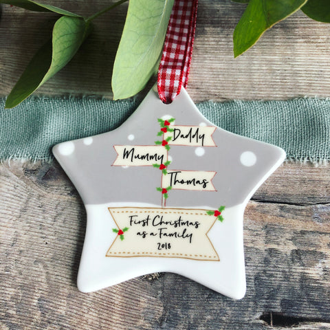 Personalised First Christmas as A Family Signpost Ceramic Star Christmas Decoration Ornament