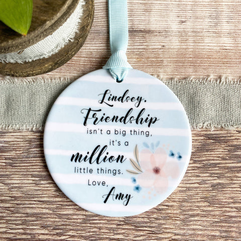 Personalised Friendship isn't a big thing .. Pastel Blue stripe Ceramic Keepsake