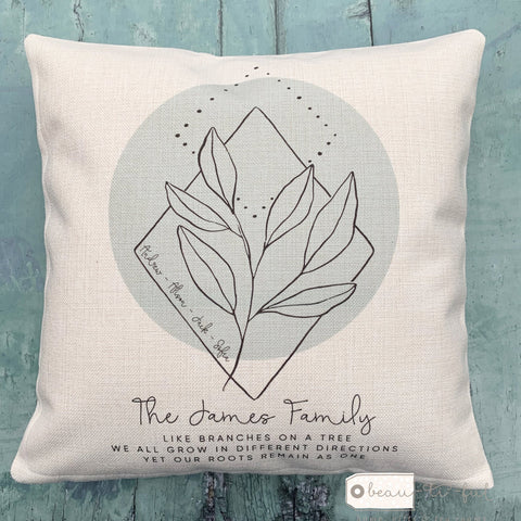 Personalised Family Like branches on a tree ... Botanical Design Home Quote Linen Style Cushion