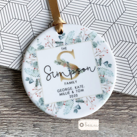 Personalised Family Christmas Monogram Greenery Ceramic Decoration