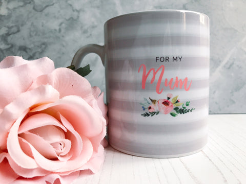 Grey Stripe Floral Detail For my.....  Female Relative Mug