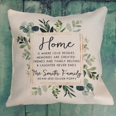 Personalised Home Is where love... Botanical Design New Home Quote Linen Style Cushion