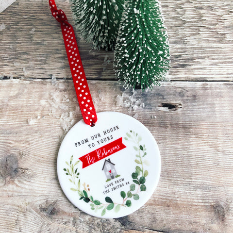 Personalised From our house to yours Family Christmas Botanical Ceramic Round Decoration Keepsake