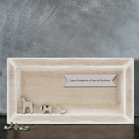 East of India Leave footprints ... Quote Long Wooden Box Frame