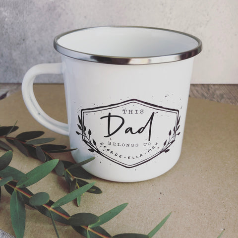 Personalised This Dad belongs to.... Dad Grandpa Grandad Enamel Mug - Fathers Day