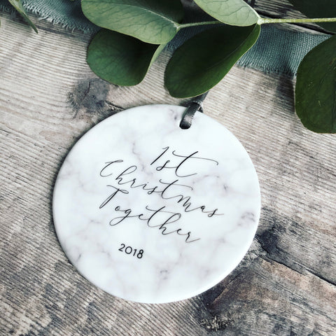 Personalised First Christmas Together Marble Style Ceramic Decoration Christmas Gift Keepsake Tree Ornament Bauble Decoration