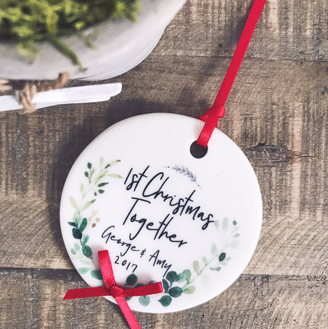 Personalised First Christmas Together Botanical Round Ceramic Tree Hanger Decoration Ornament