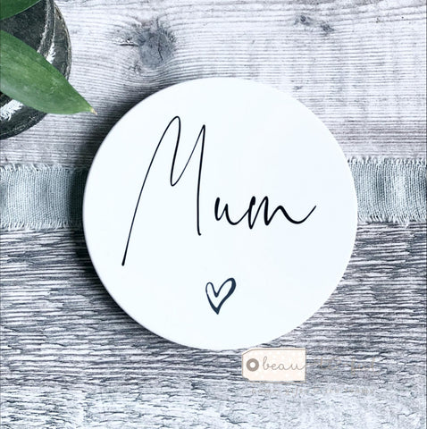 Personalised Name Heart Ceramic Round Coaster