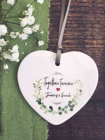 Personalised Botanical Together Forever Love Ceramic Heart Keepsake - Valentines Day
