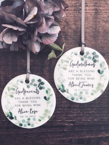 Personalised Godmother Godparents Thank you Decoration Botanical....Round Ceramic ... - Keepsake Decoration - Ornament