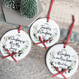 Personalised First Christmas In our New Home Address Botanical Round Ceramic Tree Hanger Decoration Ornament