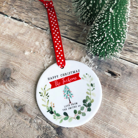 Personalised Happy Christmas Family Christmas Botanical Ceramic Round Decoration Ornament Keepsake
