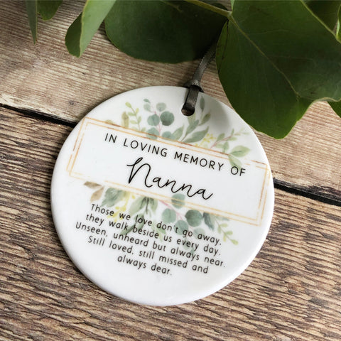 Personalised Christmas In loving memory Framed Greenery Ceramic Round Decoration Ornament Keepsake