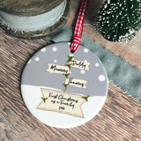 Personalised First Christmas as A Family Signpost Ceramic Round Christmas Decoration Ornament