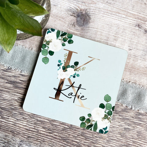 Personalised Name & Initial .. Floral Greenery Design coaster