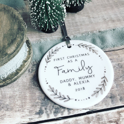 Personalised First Christmas as A Family Monochrome Wreath Ceramic Round Decoration Ornament Keepsake