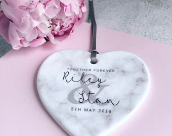 Personalised Together Forever Marble Style Crramic Heart