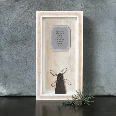 East of India Just be who... Quote Long Wooden Box Frame