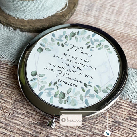 Personalised Mother of Bride Groom As I say 'I do' from Bride Groom Quote Geometric Greenery Silver Compact